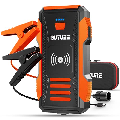 BuTure 23800mAh Arrancador de Coche con Cargador Inalámbrico, 2500A Arrancador de Baterias de Coche para Todo vehículo de Gasolina o 8.0L de Diesel.