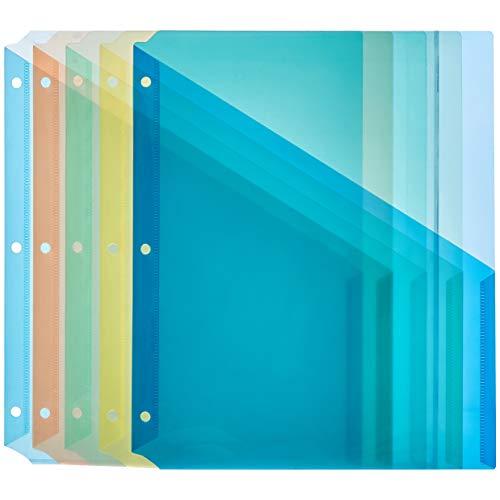Amazon Basics Binder Organizer Poly Jacket 3 Hole Punch Assorted Colors Pack of 5