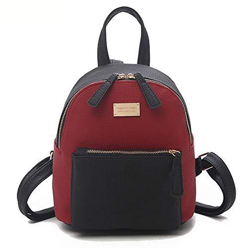 L-sister 2019 Nuevo Nylon Fashion Sports PU Cuero Contraste Mochila de Color Estilo único (Color : Red, Size : 20 * 14 * 24cm)