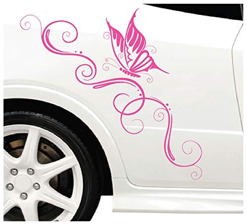 DD Dotzler Design Blumenranke Schmetterling Auto Aufkleber für Motorhaube Heckscheibe Tuningsticker Autodekor Tattoo Auto Ranke 58 x 25 cm (pink, 58 x 25 cm)