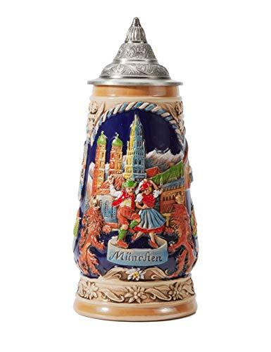 Amoy-Art Jarra de Cerveza Alemana Beer Stein Mug Deutschland Munich Oktoberfest para Regalos Giftbox 0.9Litre German