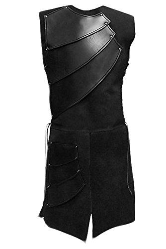 Pingstore Men's Medieval Sleeveless Waistcoats Costume Renaissance Victorian Waistcoats Vests, Black, X-Large