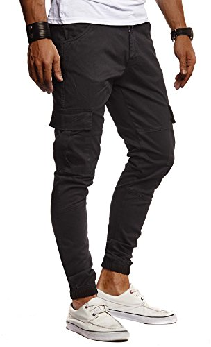 Leif Nelson Herren Hose Jeans Jeanshose Chino Cargo Chinohose Jogger Freizeithose Slim Fit LN9285; W31L30, Schwarz