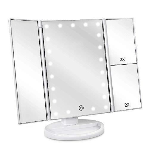 deweisn Specchio Trucco con 21 LEDs, Specchio di Vanity Trifold Ruota di 180° Ingrandimento 1x / 2X / 3X Specchio per Il con Touchscreen per Il Trucco e la Cura della Pelle (Bianco)