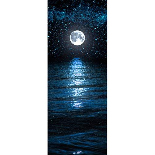 Türtapete selbstklebend TürPoster 3D Bewirken Fototapete Türfolie Poster Tapete Abnehmbar Wandtapete für Wohnzimmer Küche Schlafzimmer 77X200cm (Mond und Sterne)