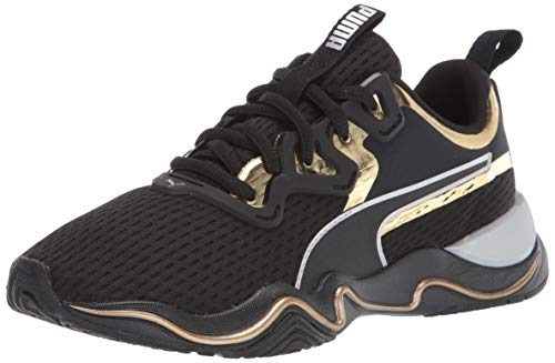 PUMA womens Zone Xt Sneaker, Puma Black-gold, 8 US