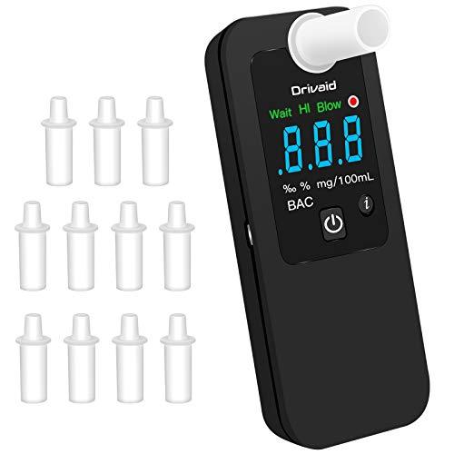 Drivaid Alcohol Tester,Wiederaufladbarer Halbleiter-Alkoholtester, Digitale LED-Anzeige und Alarmton,Handlicher digitaler Alkohol-Atemanalysator mit 12 Mundstücken