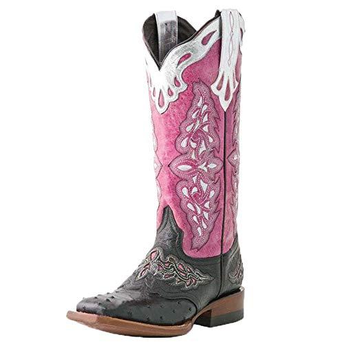 HarryHyar Unisex Klassischer Western Stiefel Printed Schlupfstiefel Blockabsatz Cowboy Stiefel Down Town Kleid Stiefel Pink Große 41 Asiatisch