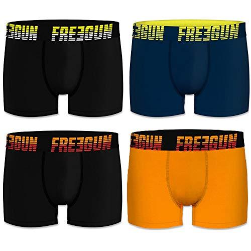 FREEGUN Lot de 4 Boxers Homme Coton Uni (M, Noir/Marine/Orange)