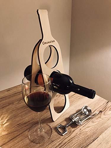 Granatan Weinflaschenhalter Holz - Deko Flaschenständer für 3 Flaschen - Weinständer Flaschenhalter.