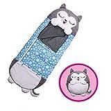 KOP sacos de dormir para niños, saco de dormir para niños, 2 en 1, divertidos cojines convertidos en sacos de dormir, tamaño grande adecuado para niños menores de 6 años M azul marino