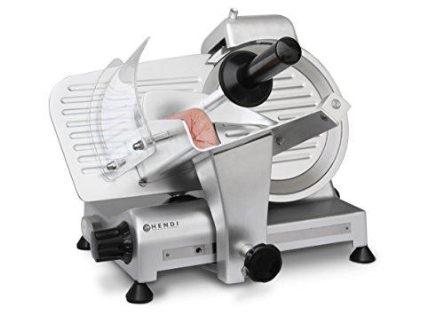 HENDI Aufschnittmaschine, Profi Line 220, Messerdurchmesser: 220mm, Allesschneider, Stufenlos einstellbare Schnittstärke (0-15mm), 230V, 280W, 440x420x(H)350mm, Aluminium, Edelstahl