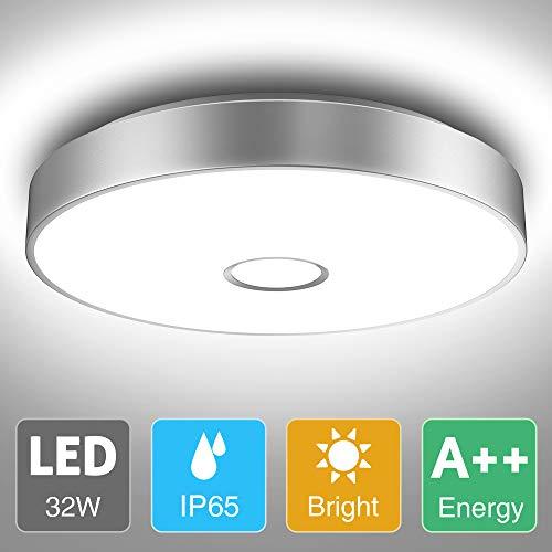 Onforu Deckenleuchte LED 32W, IP65 Wasserdicht Deckenlampe Badezimmer, Superhelle 2800lm Küchenlampe, 5000K Kaltweiß Badezimmerlampe Lampe für Schlafzimmer, Bad, Küche, Wohnzimmer.