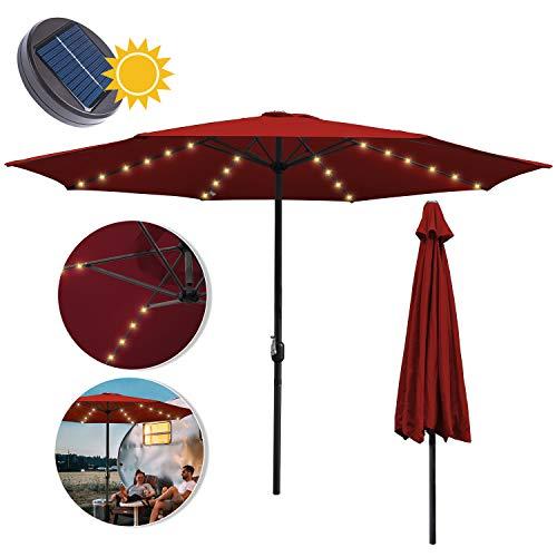 wolketon Sonnenschirm Ø300cm Alu Marktschirm mit Warmweiß Solar-Beleuchtung Gartenschirm Terrassenschirm UV 30+ Kurbelschirm