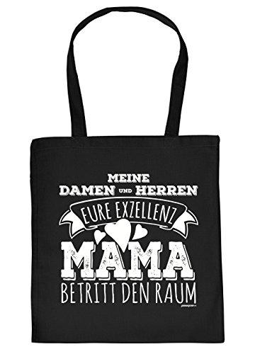 Nützliche Stofftasche/Jutebeutel/Einkaufstasche/Tragetasche schwarz mit Urkunde Muttertag: Meine Damen und Herren Eure Exzellenz Mama betritt den Raum