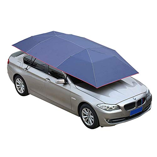 Mein LAY Car Tent Semi-Automatic Hot Summer Car Umbrella Cover Portable Movable Carport Folded Automobile Protection Sun Shade Anti-UV Canopy Sun-Proof Shelters SUV Blue