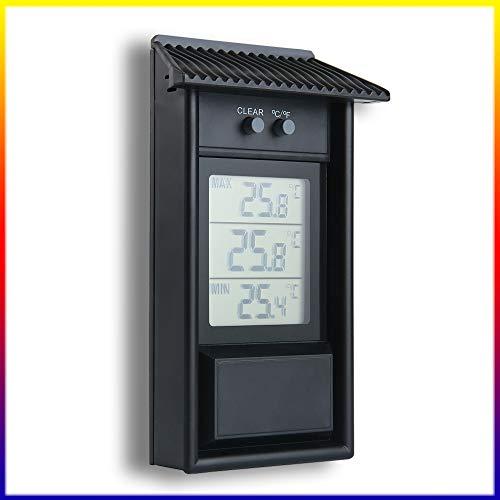 PopHMN Digitales Max-min-gewächshaus-Thermometer, Wasserdichter Innen-Hygrometer-Monitor, Gartengewächshaus-heimgebrauch, Innen-außen-zubehör (schwarz)