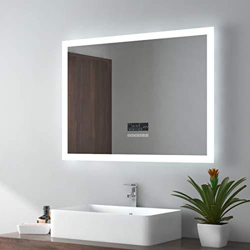 EMKE LED Badspiegel 80x60cm Wandspiegel Beleuchtung Badezimmerspiegel mit Bluetooth 4.1 Lautsprecher, Touchschalter, Beschlagfrei, Uhr
