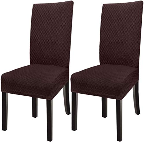 Mazu Homee Restaurant Checkered Jacquard Dining Chair Cover, Chair Protection Cover, Suitable for Family banquets and Weddings