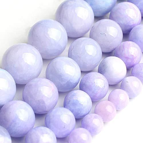 ZNYD Piedras Preciosas Perlas Naturales púrpura Jade for la joyería Que Hace Pendiente del Collar de la Pulsera de DIY Redondo Flojo del Espaciador Tamaño 15inches 6/8/10 / 12mm (Talla : 10mm)