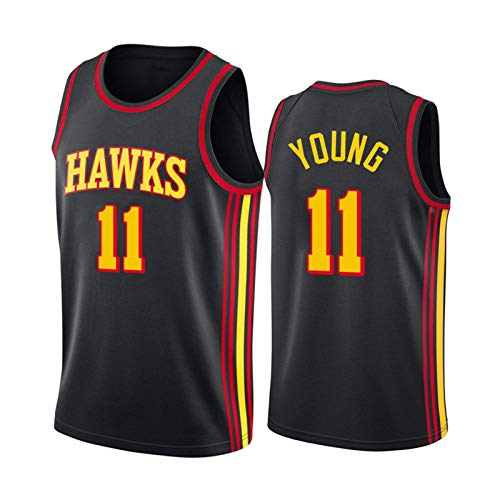 Trae Young 11# Trikot für Herren - Jugend Atlanta Hawks 2020/21 Youth Black Swingman Player Jersey City Edition Retro ärmellose Weste Gr. XL, Young a