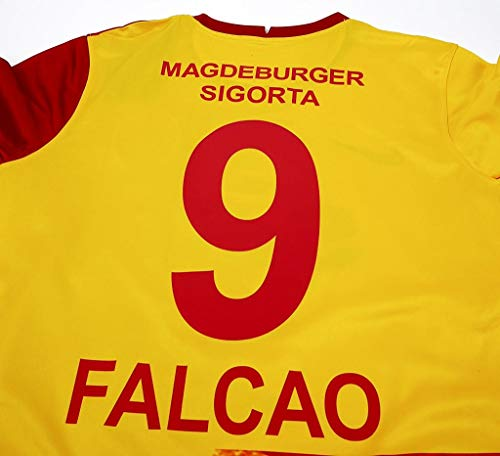 Su Radamel Falcao#9 Maglietta da Calciatore Jersey 2020-2021 Full Patch Red&Yellow Color (XL)