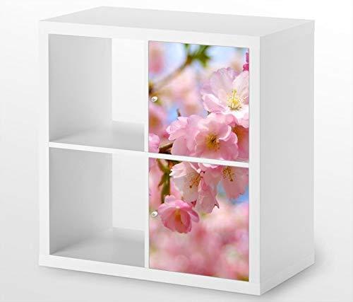Möbelaufkleber für Ikea KALLAX / 2x Türelemente vertikal Kirchblueten rosa Blueten Blume Blumen Kat7 Aufkleber Möbelfolie Tür sticker (Ohne Möbel) 25G664