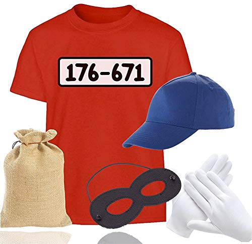 TK Gruppe Timo Klingler Gangster Panzerknacker Unisexgröße 170 - 190 cm Bandit Tshirt mit Accessoires Einbrecher - Damen - Herren Kostüm Fasching & Karneval - 176-671