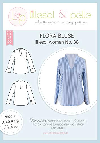 lillesol & pelle Schnittmuster lillesol Women No.38 Flora-Bluse in Größe 34-50 zum Nähen mit Foto-Anleitung und Video