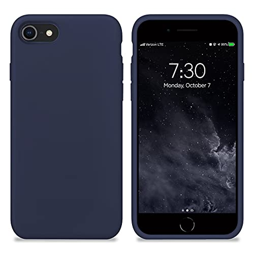 New Phoone - Funda de Silicona iPhone | Funda de iPhone 7 - Funda iPhone 8 o Funda iPhone SE 2020 - Funda Ligera con Tacto Suave, Resistente y Antigolpes de Color Azul Medianoche