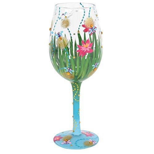Enesco Designs by Lolita Firefly - Copa de vino artesanal pintada a mano, 15 oz, multicolor