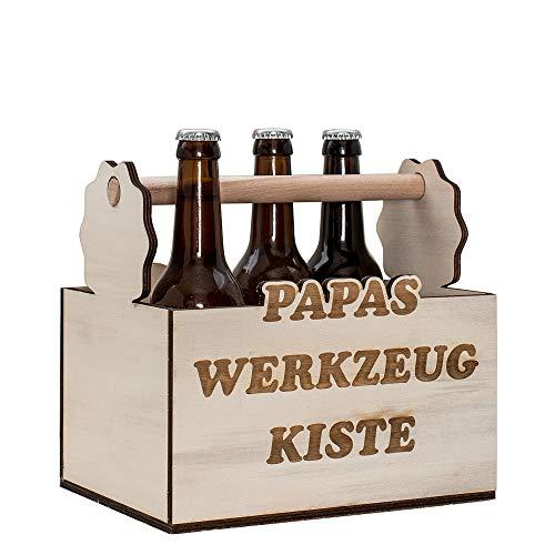 Bierträger aus Holz Papas Werkzeugkiste | 6er Träger | Flaschenträger Holz mit Gravur als Geschenk für Papa | Papas Männerhandtasche | 6er Flaschenträger für Bierflaschen | lustige Biergeschenke