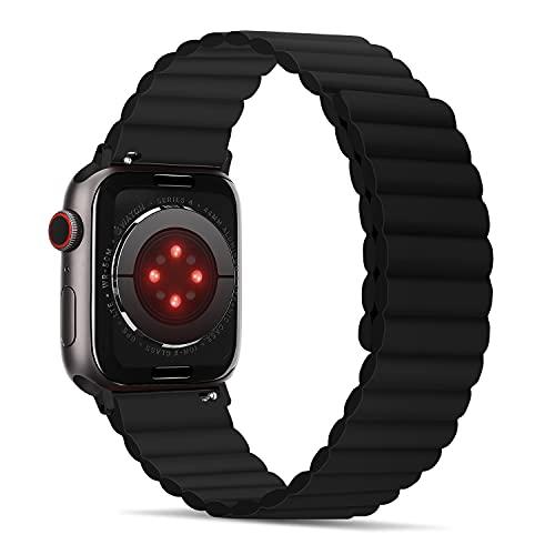 Tasikar Correas Compatible con Apple Watch Correa 44mm 42mm, Pulsera de Repuesto de Silicona con Fuerte Cierre Magnético [Usable Doble Cara] para iWatch Series 6 5 4 3 2 1 SE - (Negro)