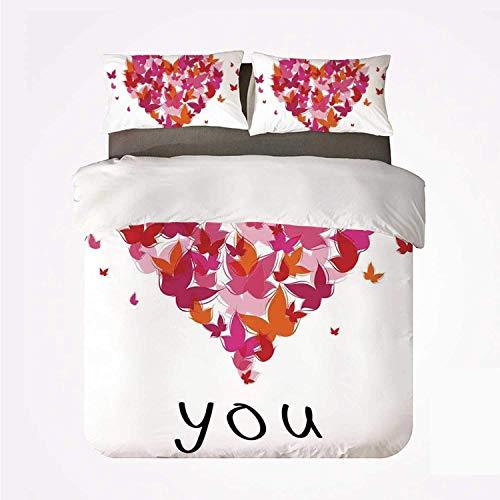Juego de Funda nórdica Love Decor Juego de 3 Camas duraderas, Elegante Figura de corazón Llena de Mariposas Alma Gemela Real Verdadero Mi Querido Amor Ilustración para Interiores