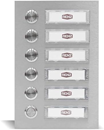 Edelstahl Türklingel für 6 Familien (145 x 210 mm), Haustürklingel mit austauschbaren Namensschildern, wasserdichte und UV beständige Klingel mit Silikonbefestigung - Renz Edelstahl Klingelanlage