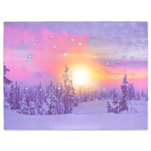 Nexos LED Wandbild Leinwandbild mit Beleuchtung Fotodruck Dämmerung Winter Wald 30x40 cm Kunstdruck Leuchtbild Weihnachten Schnee Sonnenaufgang