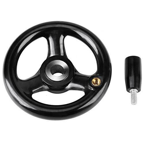 Rueda de mano, rueda redonda de plástico de 3 radios para tornos fresadora Tornos amoladoras 12 * 100 mm negro