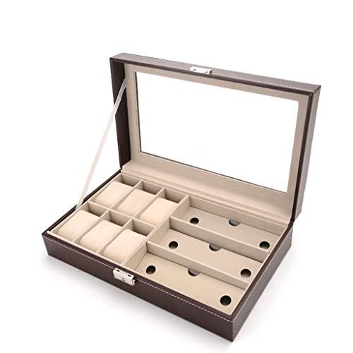 Yousiju Reloj Caja De Almacenamiento De Exhibición De Joyas Organizador De Gafas De Sol De Cuero Soporte De Caja Almacenamiento Ordenado Y Hermoso, Regalos Navideños (Color : Brown)