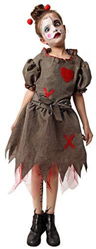 Gojoy shop- Disfraz y Cuchillo de Broma de Muñeca Zombi para Niñas Halloween Carnaval (Contiene Cuchillo, Vestido, Alfileres para Pelo y Pantys, 4 Tallas Diferentes) (5-6 años)