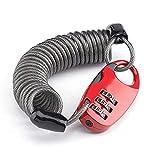 Candados de Cable de Bicicleta, candado de Bicicleta MTB con contraseña de 3 dígitos Ultraligero y antirrobo portátil Mini 90 cm elástico elástico (Rojo)
