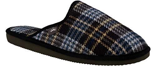 RBJ leather shoes .Herren Natur Wollfilz Pantoffeln für Wohlgefühl atmungsaktiv, natürlich, Handarbeit, Qualität Hausschuhe.(44 EU, Blau 822)