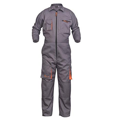 NORMAN Grau Arbeitskleidung Herren Latzhose Monteuranzug Overalls Mechaniker Blaumann Schützende – grau, XXX-Large - 2