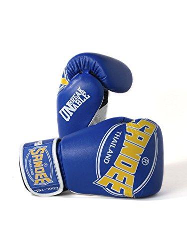 Sandee Pratzen cool-tec Muay Thai Blau, Gelb & Weiß Leder Boxhandschuhe Sparring, 396,9 g (14 oz)