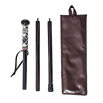 FOREST PILOT 3 Pieces Detachable Hardwood Walking Stick Flat Wooden Ball Head with a Compass  Dark Rose Color 48 Inches 1 Piece