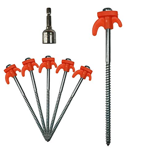 10 pc Galvanised Steel Screw Tent Pegs with Drill Adapter Camping Ground Stakes