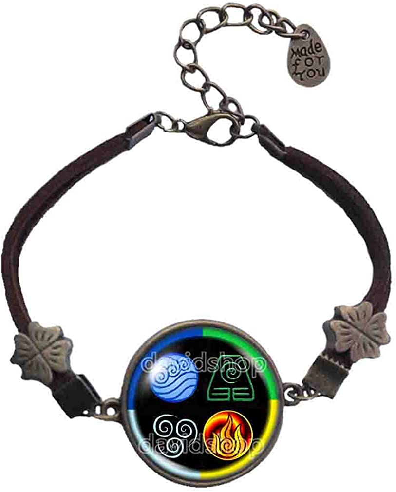 Handmade By Sichong Fashion Water Tribe Earth Kingdom Air Nomads Art Symbol Avatar the last Airbender Bracelet Legend of Korra Pendant Charm Cosplay Colorful New