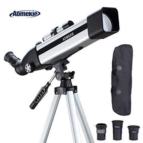 Aomekie Telescopio Astronómico Profesional 60/500 para Telescopio Niñosr Erecto con Visor Erecto, Ajustable Trípode...