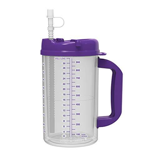 32 oz Double Wall Insulated Hospital Mug - Cold Drink Mug - Large Carry Handle - Includes Straw (1, Purple)