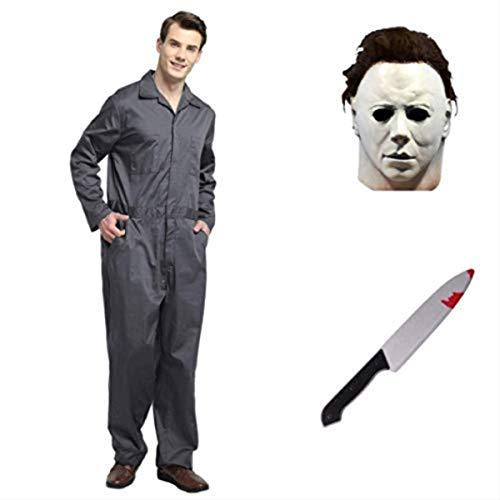 thematys® Juego de Disfraces de películas de Terror de Michael Myers con máscara y Cuchillo en 5 tamaños Diferentes Carnaval y la Noche de Brujas (S)