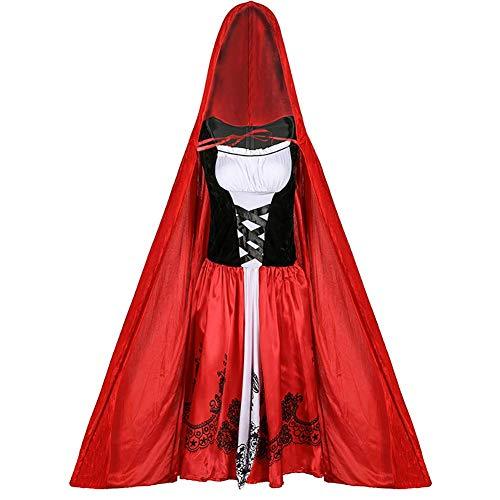 Akeny Adulti Piccolo Cappuccetto Rosso Mantella Mantello Costume Donne Donna Halloween Costume Festa - Rosso, Medium